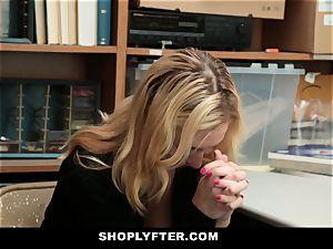 Shoplyfter Prevention Officer handcuffs screws blonde Thief