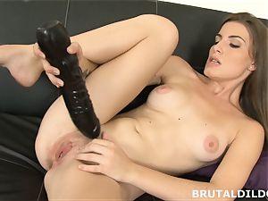amateur black-haired Ennie moans and plows big dark-hued fake penis