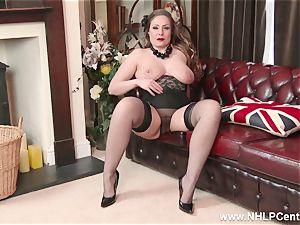 innate yam-sized udders brunette Sophia Delane jerks in nylons