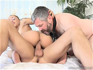 Holly Hendrix Cuckolds spouse and Makes Him gobble jizm