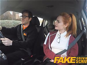 fake Driving school adorable redhead Ella Hughes drills