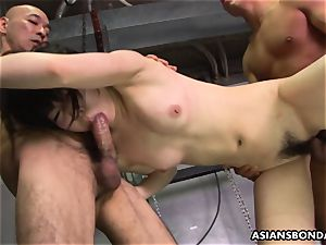 Roughed up chinese nubile getting bashed by the studs
