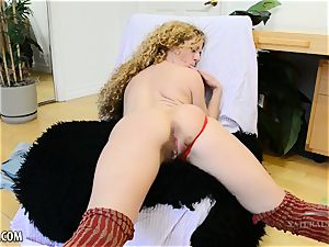 Leona jacks her furry honeypot and groans