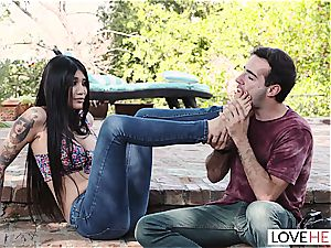 foot obsession outdoors sequence with adorable Brenna Sparks
