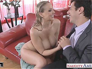 mind-blowing Julia Ann blows knob and gets painted white