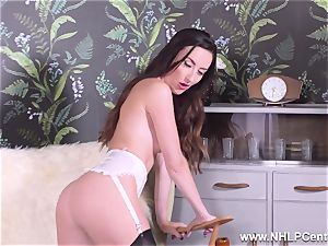 dark-haired taunts in nylons stilettos undresses for you to jack