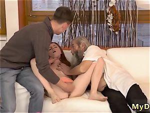 kitty senior guy sudden practice with an elderly gentleman