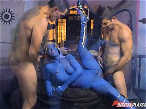 Alien Eva Lovia takes on two hero pricks