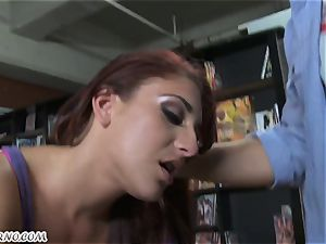 Seller ravages his fresh assistant in the shop