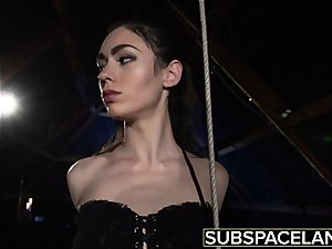 Arwen Gold bdsm session with fuck-a-thon toys and leather whip
