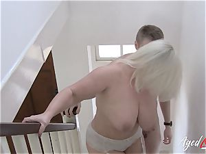 AgedLovE big-boobed Lacey Starr gonzo and suck off
