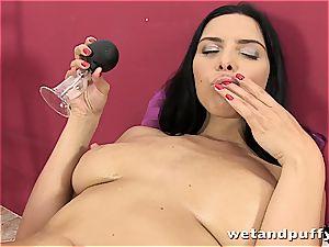 beautiful Kira goddess uses her implements to masturbate