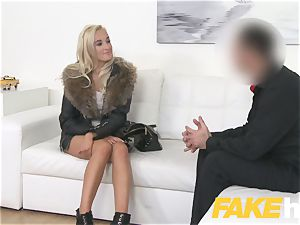 faux Agent euro woman enjoys giving titty jack and suck off