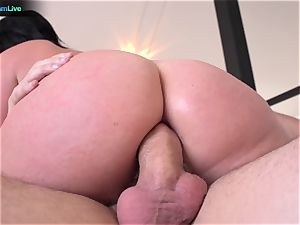 big-boobed Sophie Dee using her bumpers at the maximum level