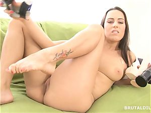 stunning brown-haired gaping her pinkish vag with fat faux-cocks