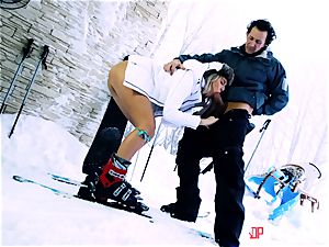 Playful skier Nikky fantasy takes her trainer's bone in the snow