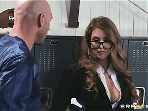 huge-boobed news reporter Lena Paul smashed in the locker room