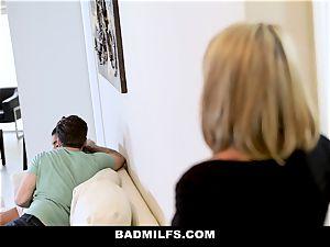 BadMILF - Jealous Stepmom three-way With Stepson And girlfriend