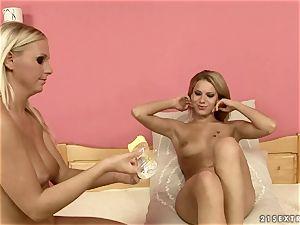 Tara pinkish with her mischievous friend sitting on sofa
