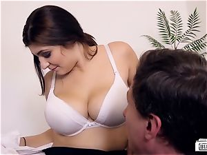 booties BUERO - horny office romp concludes with jizz on fun bags