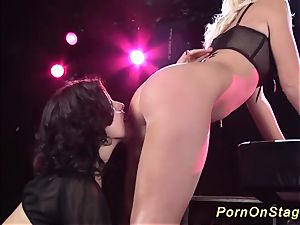 lezzie porn display in stage