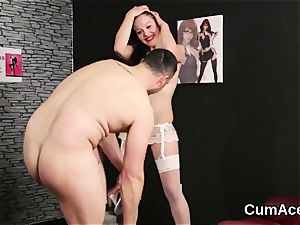 hot stunner gets jelly shot on her face fellating all the finish off