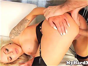 huge-boobed Nina Elle cum sprayed by James Deen