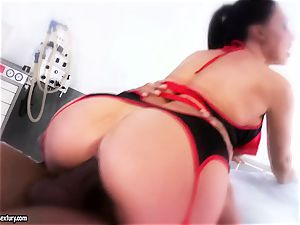 marvelous babe Aletta Ocean is tonguing a dark-hued man meat like a monster noodle