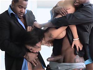 Asa Akira group-fucked by a group of meaty dark-hued fuck-sticks