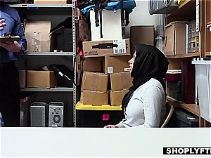 immense titted hijab teen gets a facial cumshot in the shop backoffice